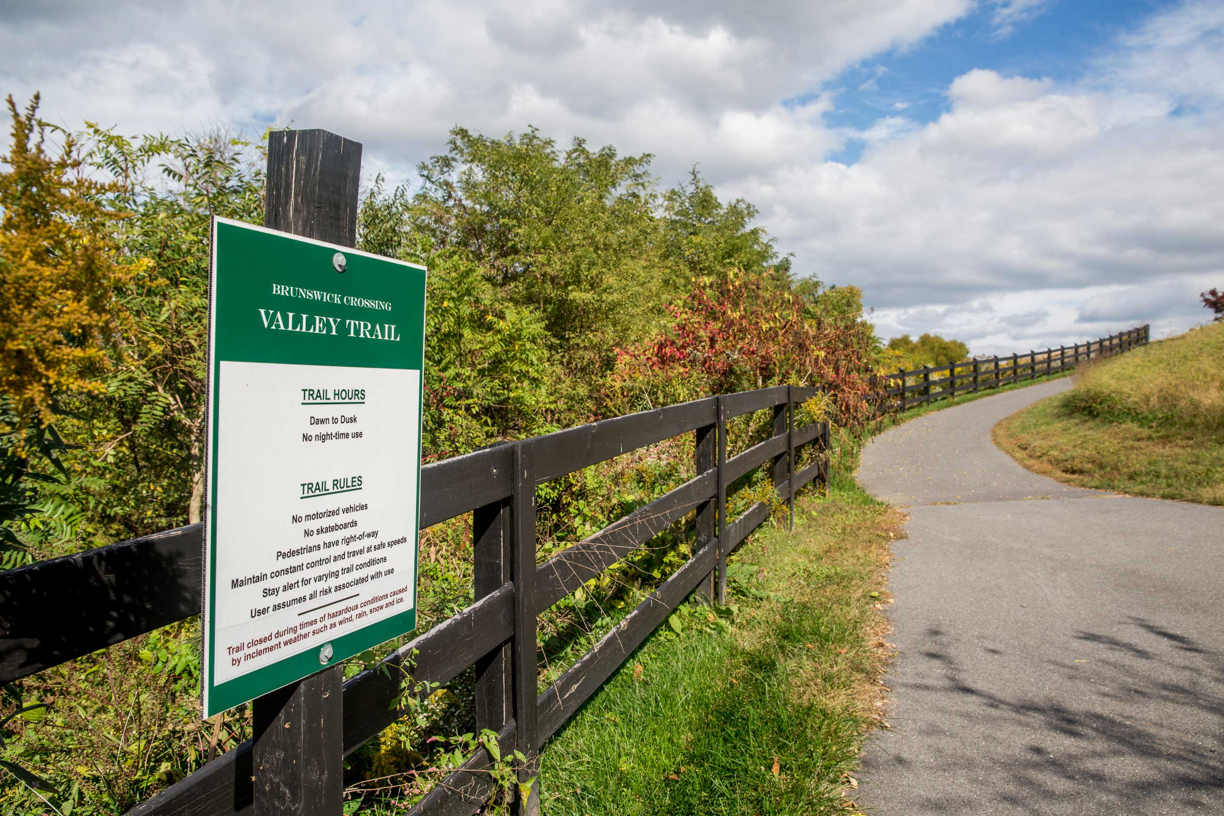 Brunswick Crossing New Homes Valley Trail System offers 26 miles of paved trails in Frederick County Maryland